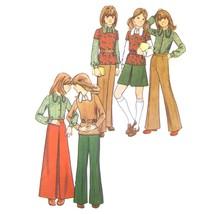 1970s Vintage Butterick Sewing Pattern 6826 Girls Shirt Top A-Line Skirt... - $6.95