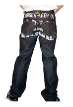 Dissizit! Danger 5-pocket Classic Fit Raw Black/Indigo Denim Jeans NWT image 2