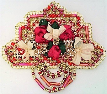 Primary image for Ribbon Embroidery Beaded Floral Brooch