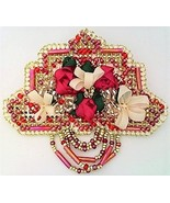Ribbon Embroidery Beaded Floral Brooch - $10.10