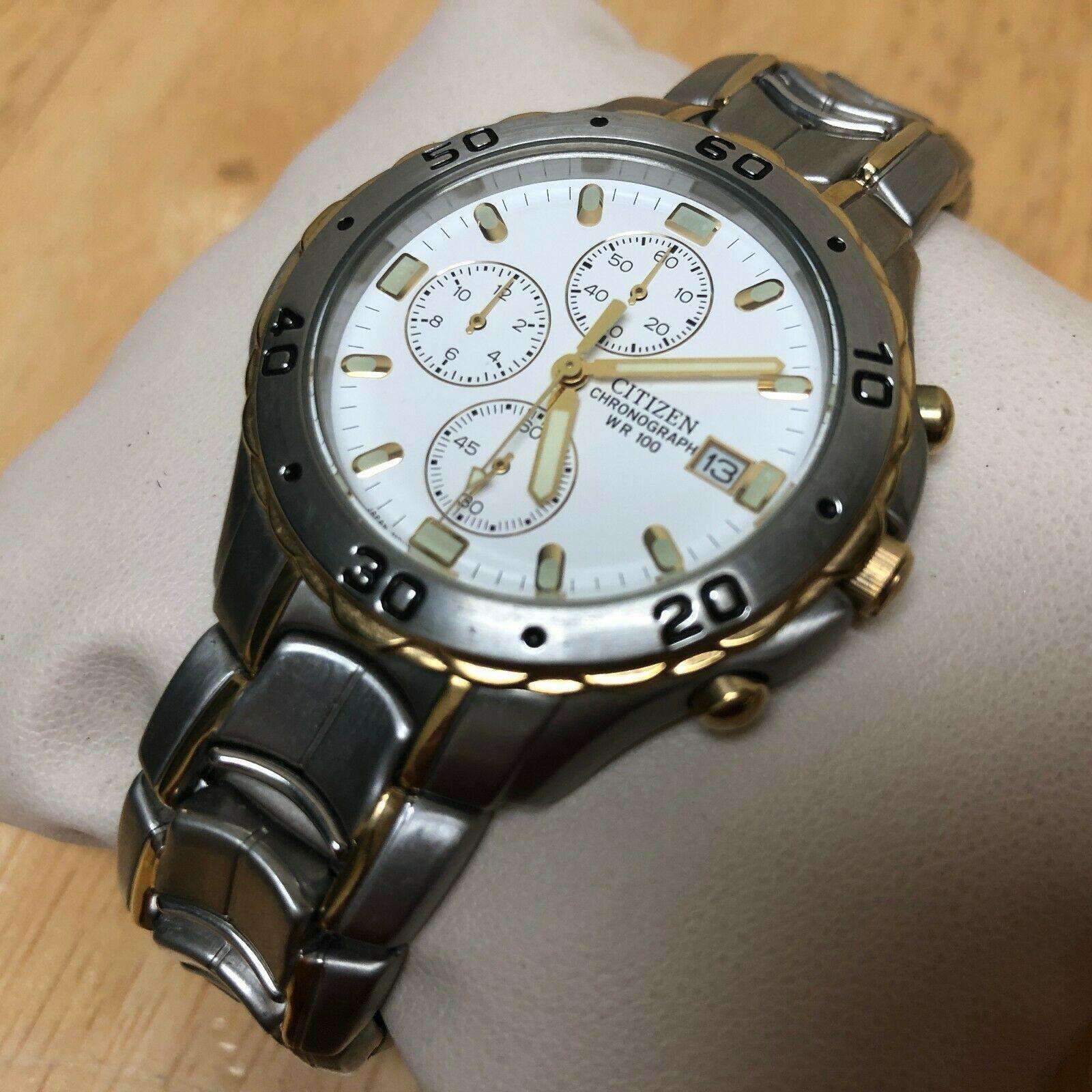 Unused Citizen 0510 Men Dual Tone Analog Quartz Chrono Watch Hours~Date~New Batt