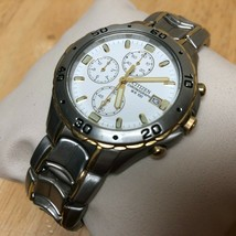 Unused Citizen 0510 Men Dual Tone Analog Quartz Chrono Watch Hours~Date~... - $56.99
