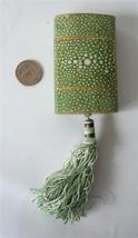 Vintage CARON Nuit De Noel Faux shagreen Paper Box only Tassel Green Art... - $29.69
