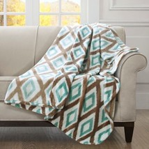 "Plush Aqua Blue & Brown Diamond Ikat Print Oversized  Throw - 60"" x 70"" - $638,79 MXN"