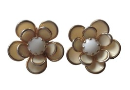 Vintage Retro Floral Flowers Large Gold Toned Rhinestone Clip Earrings W... - $16.82