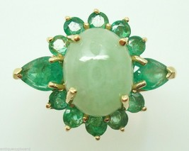 Stunning 14k Gold Jade Ring Surrounded by Emeralds (#J146) - $845.75