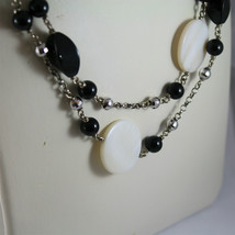 .925 RHODIUM SILVER NECKLACE, BLACK ONYX, MOTHER OF PEARL, FACETED SILVER BALLS image 2