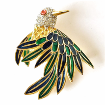 Vintage 1960's D'Orlan Enamelled Hummingbird Brooch with Austrian Cryst... - $24.86