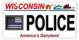 Wisconsin NOVELTY License Plate Law Enforcement - Police w Blue Line USA... - $12.82