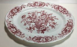 Ridgway Staffordshire Pink Red Old English Bouquet Oval Serving Platter ... - $24.73