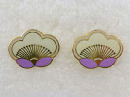 LAUREL BURCH White Purple Enamel Blossom Gold-Tone Pierced EARRINGS - FR... - $25.00