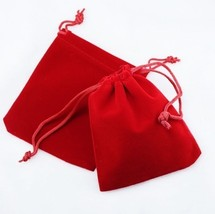 """100 Small RED GIFT Jewelry Drawstring Bags 2-1-/2"""" x 3"""" Flocked Velvetee... - $21.14"""