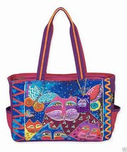 NWT Laurel Burch Blue & Pink Cats & Butterflies Medium Satchel Tote SHIP... - $44.75