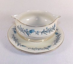 Vintage Theodore Haviland Clinton Gravy Boat Attached Underplate Blue Flowers Ec - $29.99