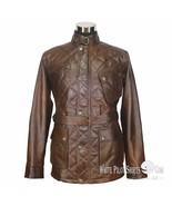 Leather Jacket Men Antique Vintage Dark Brown Quilted Panther Military B... - $210.13+