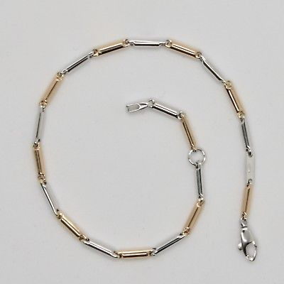 BRACELET OR 18 KT 750 BLANC ET ROSE TRICOTÉ RONDES MADE IN ITALY LONG 18 CM