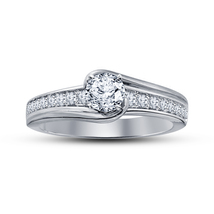 14k White Gold Plated 925 Sterling Silver Diamond Solitaire W/ Accents R... - $72.35