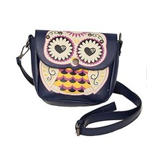 Funny Navy Owl Cross Body Bag for School