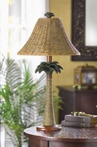 PALM TREE TABLE LAMP Rattan Tropical Style - $50.95