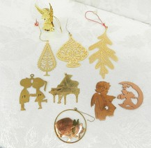Lot of 9 Metal Christmas Ornaments Leaf Tree Angel Cat Piano Lovers Copp... - $15.83