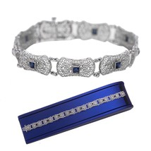 "1930's Antique Art Deco 10K White Gold 0.56ctw Sapphire Filigree 7.00"" B... - $454.95"