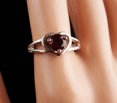 Sterling 1ct GARNET Ring - Sweetheart gift - red heart ring - Size 7 - vintage s image 4