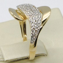 SOLID 18K YELLOW GOLD BAND ZIRCONIA RING, ONDULATE, WAVE, WOVEN, MADE IN ITALY image 2