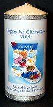 "Personalised gift Baby's 1st Christmas candle large 6""inch  #1 - $18.01"