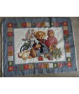 """Daisy Kingdom Blue Jean Teddy 3 layer Quilted Outlined Fabric Panel 35"""" ... - $21.99"""