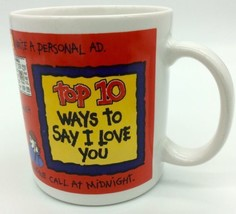 I Love You Coffee Mug Top 10 Ways To Say PAPEL Funny Statements Red - $8.13