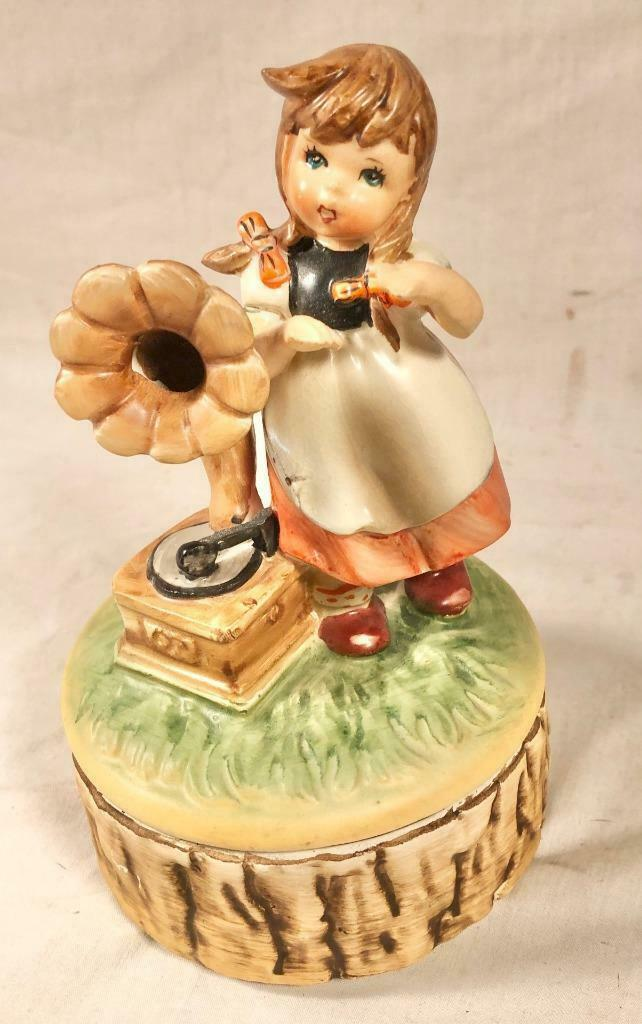 "VINTAGE HUMMEL STYLE CERAMIC MUSIC BOX ""I COULD HAVE DANCED ALL NIGHT"" JAPAN - $25.73"
