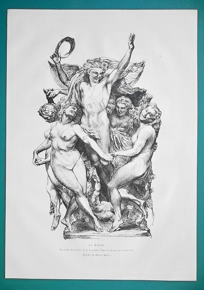 Primary image for NUDE Dance Sculpture Group from New Opera in Paris - 1876 Antique Print