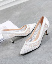 5cm Low Heels Shoes,Ivory Wedding low heels,White Lace Leather Bridal Heels - $69.99