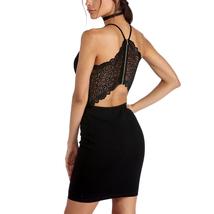 Bodycon Black Dress, Patchwork Lace At Back, Spaghetti Straps - Free Shi... - $25.00