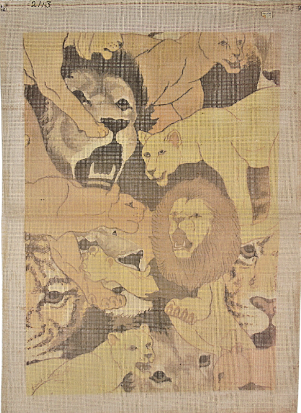 "Primary image for 1970's Vintage Hand Painted Needlepoint Lions and Tigers Gone Wild ""2113"" 10-CT"