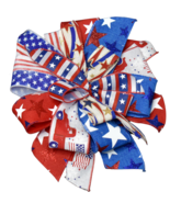 """12"""" Hand Made Round Patriotic Wired Bow - Flag Red White Blue USA Indepe... - $13.85"""
