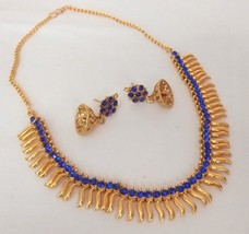 Indian Bollywood Fashion GoldPlated Blue Rhinestone Bridal Jewellery Necklace - $11.12