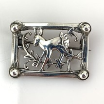 "Vtg Coro Sterling Silver Framed Deer Brooch 1 1/4"" - $20.85"