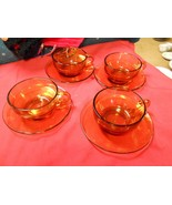 -Great Collectible ADELEX Amber Set of 4 Cups and Saucers - $13.57