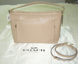 COACH LRG BEIGE TEXTURED LEATHER ARM/SHOULDER BAG+'BYPASS' FRONT POCKETS... - $167.31