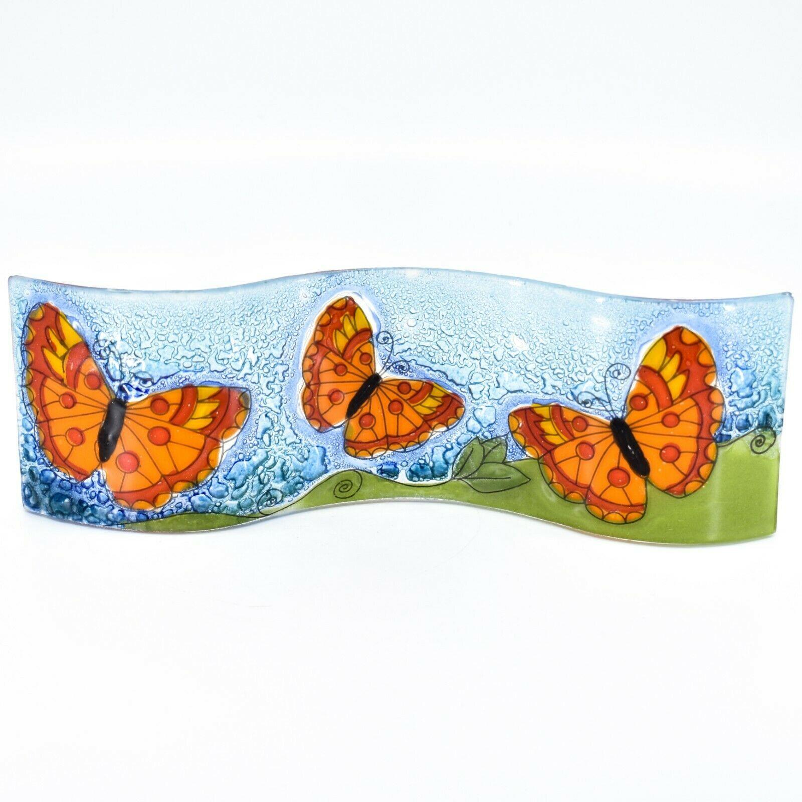 Fused Art Glass Red Orange Butterflies Wavy Sun Catcher Handmade Ecuador