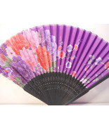 Lavender Purple Floral Silk Handheld Fan Folding Fans Asian Hand Fan  #F... - $9.99