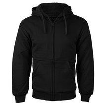 vkwear Men's Athletic Soft Sherpa Lined Fleece Zip Up Hoodie Sweater Jacket (Lar