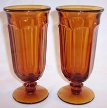 Lot of 2 Imperial Glass Old Williamsburg Amber Ice Tea Parfait Glasses, Vintage! - $19.99