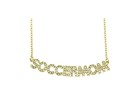 Crystal Stone Paved SOCCERMOM Necklace - $13.95