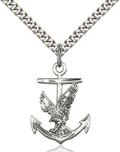Men's Bliss Sterling Silver Anchor Eagle Medal Pendant Necklace 5691SS/24S - $42.00