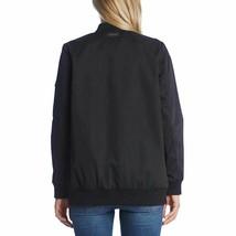 Bernardo Ladies' Black Satin Bomber Boyfriend Zip Up Jacket Coat Medium NEW image 2