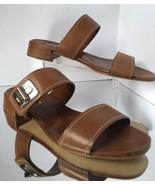 NEW PRADA Leather Turnlock Slide Sandal, Brandy (Size 37.5) - MSRP $660.00! - $299.95