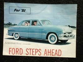 "1951 vintage FORD AUTOMOBILE SALES BROCHURE ""LOOK AHEAD"" MODELS cars for... - $42.50"