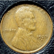 1928-S Lincoln Wheat Penny F12 #925 - $2.19